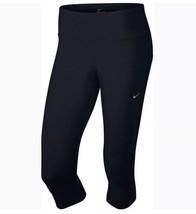 Nike Epic Luxe Capri COURTE S Jabot Pantalon Leggings Noir Solide Serré 48.3cm - $30.58