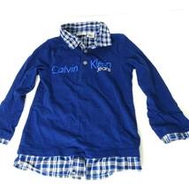 Calvin Klein Shirt Polo Collared Boys Size 4 Blue Plaid Long Sleeve 2 Pc Look - $19.79