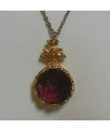 Vintage Unsigned Goldette Amethyst Intaglio Glass Pendant Necklace - £49.21 GBP