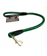 Dog Traffic Leash Heavy Duty Nylon Green Black 27 inches Long Stainless ... - $14.85