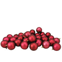 "32ct Burgundy Red Shatterproof Matte Christmas Ball Ornaments 3.25"" - tkcc - $59.95"