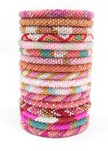 Crochet Glass Seed Bead Nepal Boho Bracelet - Wholesale Pink Scheme - $329,45 MXN+