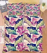 3D Lotus Flowers Bed Pillowcases Quilt Duvet Cover Set Single Queen King Size AU - $90.04+
