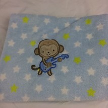 """Carters Monkey Guitar Blue Blanket Green White Stars 28"""" x 38"""" Just One You - $16.83"""