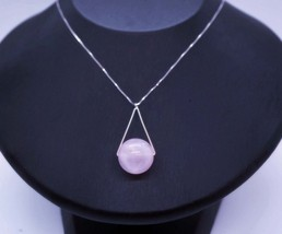 Large 16mm Natural Rose quartz Triangle Sterling Silver Necklace - $42.00