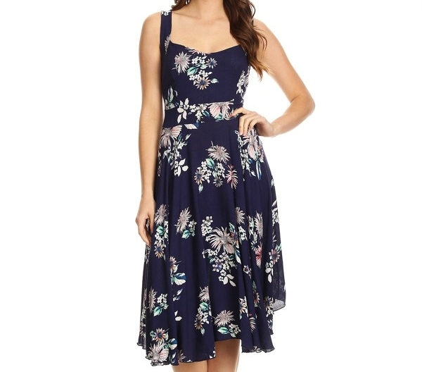 Navy Blue Floral Dress, Rayon Floral Dress, Sweetheart Neckline, Dark Blue Dress
