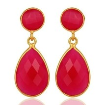 Natural Pink Chalcedony 925 Silver Gemstone Drop Earrings Amazing Jewelry  - $25.74