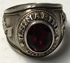 Vintage US Marine Corps Sterling Silver Men's Ring USMC Size 10.5 - $93.49