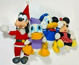 Vtg Disney Stuffed Animal Plush Christmas Goofy Donald Duck Minnie Mouse... - $37.49