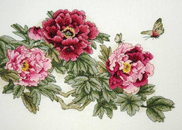 Cross Stitch Hand Embroidery Kit with Pattern Peonies - $23.43