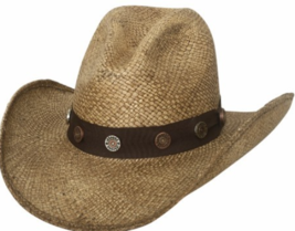Bullhide Road Agent Panama Straw Cowboy Gus Crown Ribbon Band Conchos Na... - $65.00