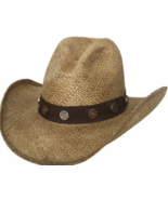 Bullhide Road Agent Panama Straw Cowboy Gus Crown Ribbon Band Conchos Na... - £59.72 GBP