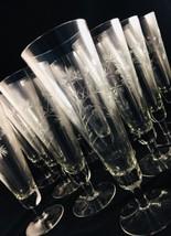 """Vintage Floral Etch Pilsner Beer Glasses Footed Set of 11 Barware 9"""" - $51.99"""