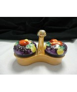 Ceramic Lustreware holder with fruit baskets salt and pepper shakers Japan - $16.99