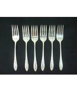 6 Oneida Community Antique Silver Plate Salad Forks Flatware Monogram 6.... - $30.00
