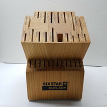 Six Star Cutlery 30 Slot Wood Knife Block with Labeled Slots Used No Knives - $39.48