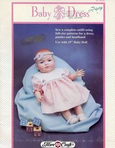 "Baby Dress 15"" Doll Outfit Fibre Craft Sewing Pattern Leaflet FCM291 HTF - $4.47"