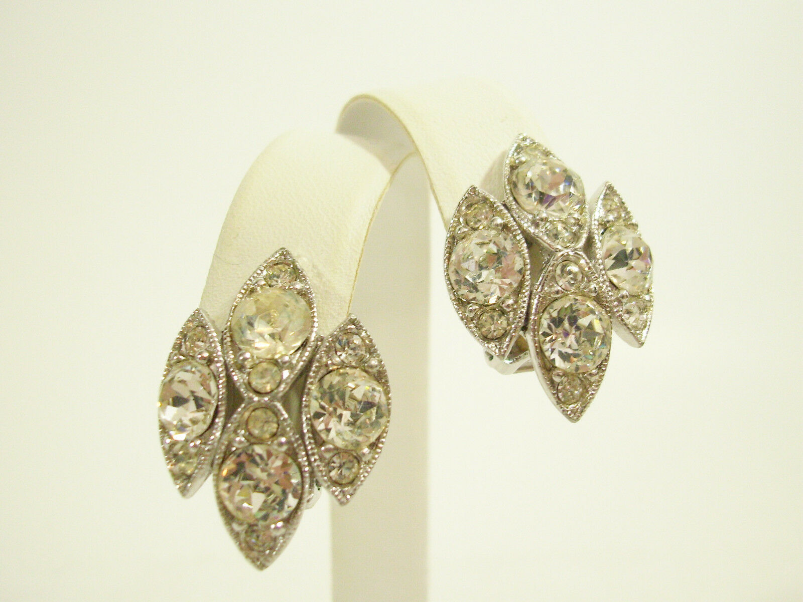 BOGOFF Sparkle Clear Rhinestone Silver Plate Clip Earrings Vintage Party Prom