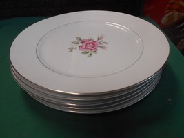 """Beautiful CT+SI China """"Brittany Rose"""" Japan..Set of 5 DINNER Plates - $29.29"""