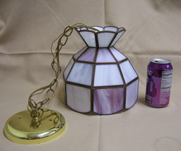 Meyda Tiffany Style Hanging Ceiling Lamp Pink/White Glass small mini size - £49.54 GBP