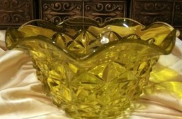 "Older YELLOW GLASS FACETED LARGE 10.5"" x 5"" Ruffle Edge BOWL L.E.Smith ?... - $39.59"