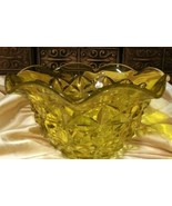"Older YELLOW GLASS FACETED LARGE 10.5"" x 5"" Ruffle Edge BOWL L.E.Smith ? 1950s - $39.59"