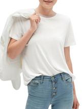 Banana Republic Womens White Shine Trim Collar Tee T-Shirt Sz Large L 41... - $34.64