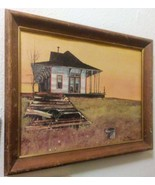 Vintage Painting Print No Trains by Steve Stallings in Wooden Frame - $35.00