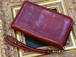 FOSSIL ISSUE NO. 1954 ZIP AROUND WRISTLET CC $ SLOTS COIN RED LEATHER CL... - $24.75