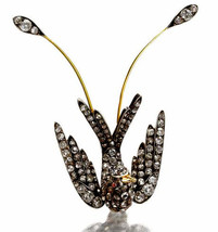 Victorian 2.85ct Rose Cut Diamond Ruby Wedding Women's Brooch Christmas Season - $624.88