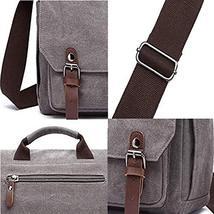 Gimay 15 inch Laptop Messenger Bag Canvas Briefcase Computer Bag Grey image 4