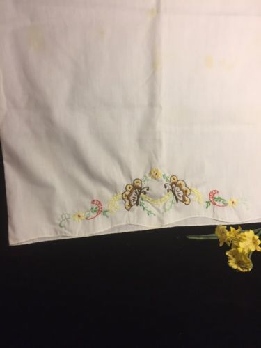 Vintage Embrodiery Butterfly Pillow Case Excellent Condition
