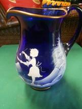 "Beautiful Handpainted COBALT Pitcher / Vase..Gold Trim 9"" - $19.39"