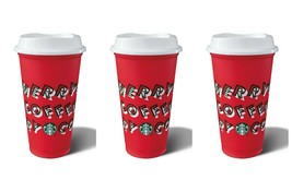 Starbucks Red Reusable Cup Hot Cold CHRISTMAS 2019 Holiday 16oz Grande 3... - $19.75