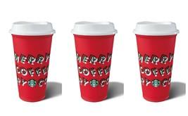 Starbucks Red Reusable Cup Hot Cold CHRISTMAS 2019 Holiday 16oz Grande 3... - $19.75
