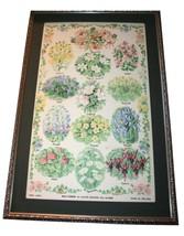"Mid-Century Modern Framed Linen Print Wall Hanging 33""x22"" Wildflowers V... - $71.99"