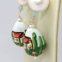 Yellow Gold Earrings 750 18K Pearls Fw and Drop Hand Painted image 3