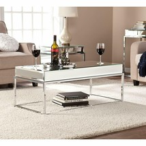 Glam Style Coffee Table Mirrored Top Metal Frame Cocktail Home Office Fu... - $393.99