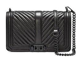 Rebecca Minkoff Chevron Quilted Love Cross-body Bag HU17MCQX08001, Black - $292.05