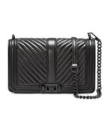 Rebecca Minkoff Chevron Quilted Love Cross-body Bag HU17MCQX08001, Black - $292.05