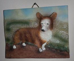 CORGI Dog Ceramic Plaque Painting Wall Art Pet Decor NEW image 1
