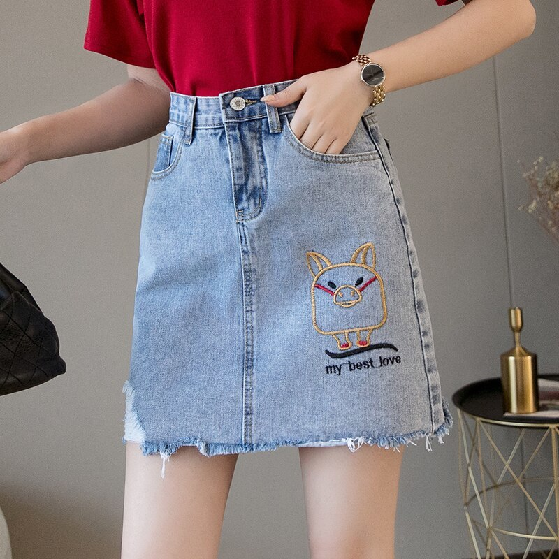 Mini Denim Skirt 2019 Summer Wild New Large Size High Waist Slim Fit A line Stud