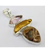Rose Quartz-Multi Stone Silver Overlay Handmade Pendant Jewelry-JH-90-31 - $5.91