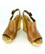 Sam Edelman Camilla Brown 7M Tan Leather Wedge Heel Platform Sandals Sli... - $39.59