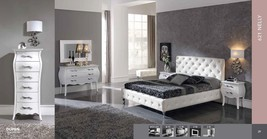 ESF 621 NELLY Modern White Leather Button Tufted Queen Size Bedroom Set 5Pcs