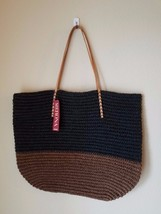 NWT Merona Tote Bag Purse Large Oversize Open Beach Straw Leather Brown ... - $24.24