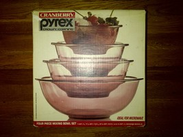 Cranberry Pyrex Crown Corning Four 4 Piece Mixing Bowl Set Rose Purple - $50.00