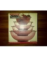 Cranberry Pyrex Crown Corning Four 4 Piece Mixing Bowl Set Rose Purple - $50.00