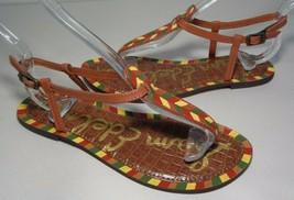 Sam Edelman Size 6 GIGI 5 Brown Painted Chevron Leather Sandals New Womens Shoes - $78.21
