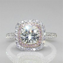 Certified 2.85Ct White Cushion Diamond Halo Engagement Ring in 14K White... - £204.56 GBP